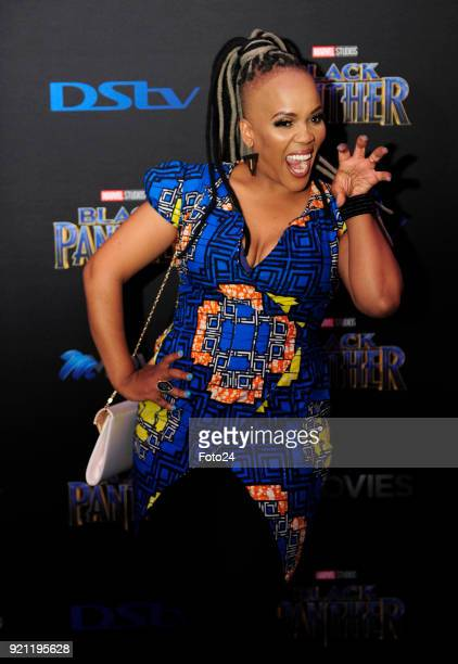 Tumi Morake during the Black Panther movie premiere at Montecasino on February 16 2018 in Fourways South Africa Your culture in South Africa...