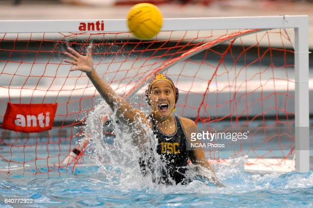 Tumua Anae of the University of Southern California makes a save against the UCLA Bruins during the Division I Women's Water Polo Championship held...