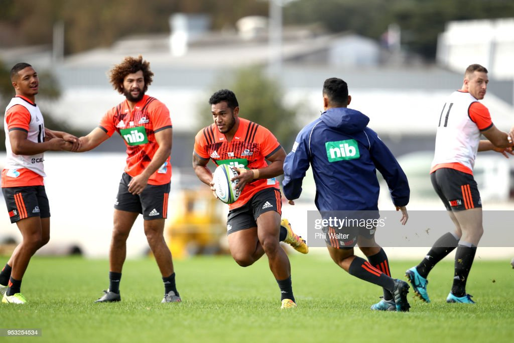 Tumua Manu of the Blues runs the ball during a Blues Super Rugby training session at Alexandra Park on May 1, 2018 in Auckland, New Zealand.