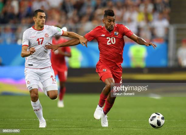 tun117 challenge for the ball with Anibal Godoy of Panama during the 2018 FIFA World Cup Russia group G match between Panama and Tunisia at Mordovia...