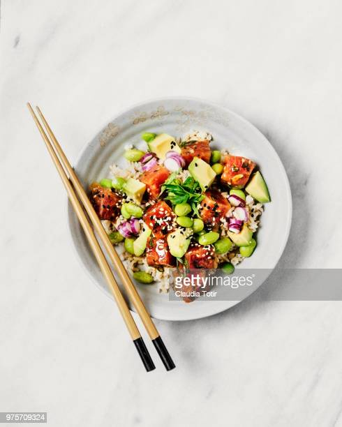 tuna and avocado poke bowl - rice food staple stock pictures, royalty-free photos & images