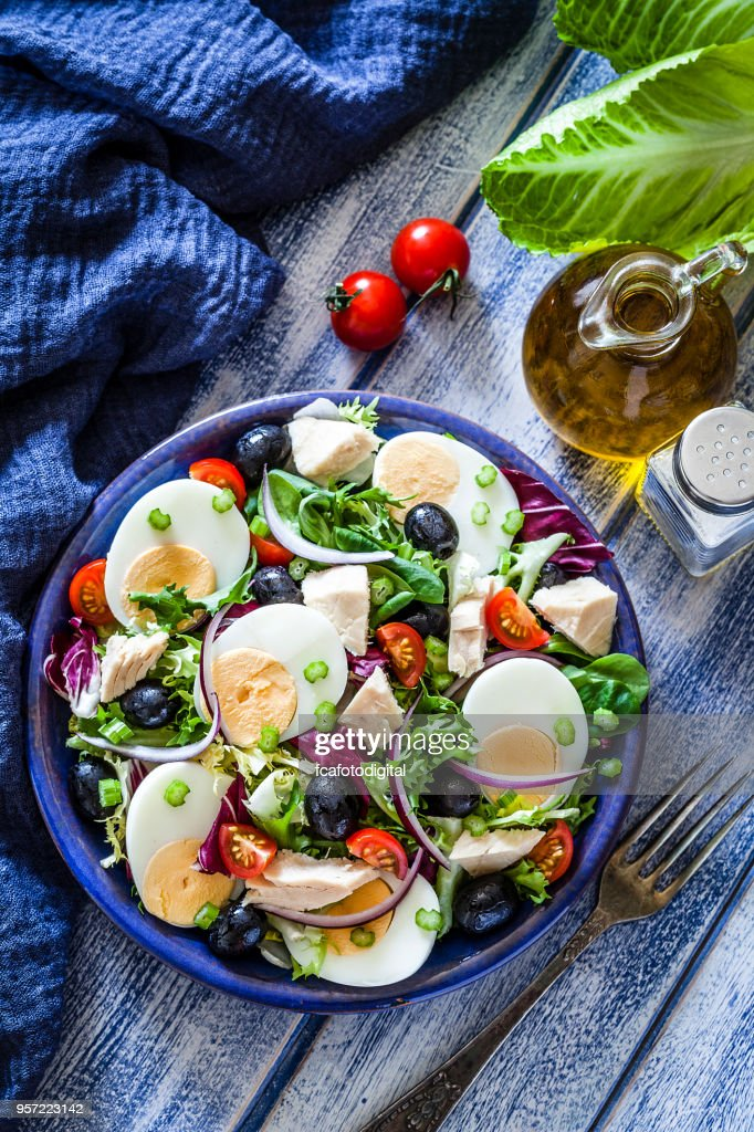 Tuna and hard-boiled eggs salad : Stock Photo