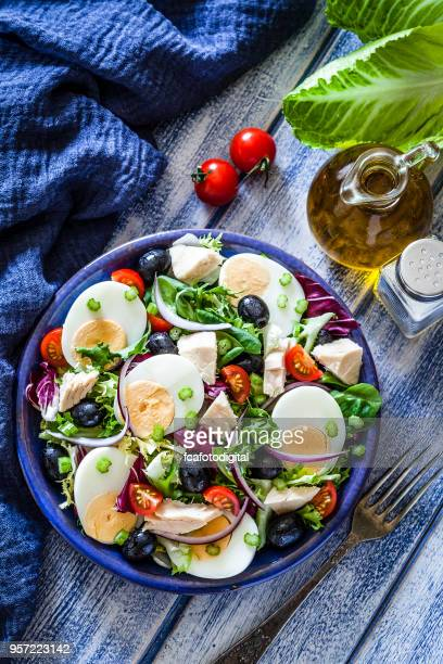 tuna and hard-boiled eggs salad - hard boiled eggs stock pictures, royalty-free photos & images