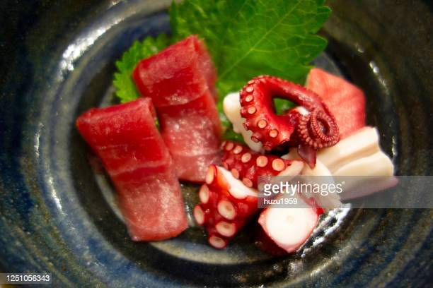 tuna and octopus sashimi (sliced tuna and octopus fillet), japanese traditional food - sashimi stock pictures, royalty-free photos & images