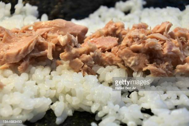 tuna flakes on japanese rice - rafael ben ari stock pictures, royalty-free photos & images