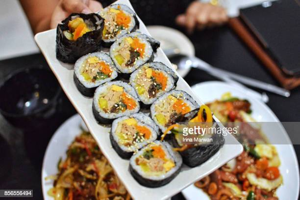 tuna kimbap - maki sushi stock pictures, royalty-free photos & images