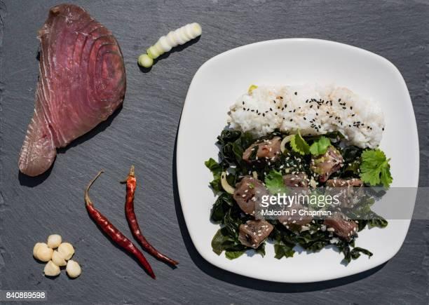 Tuna Poke - Hawaiian raw tuna salad with seaweed