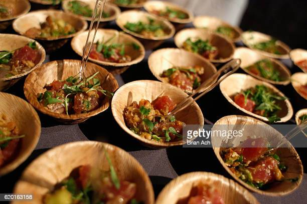 Tuna poke with avocado peanuts and ponzu sauce from Seamore's on display at the 2016 New York Taste presented by Citi hosted by New York Magazine on...