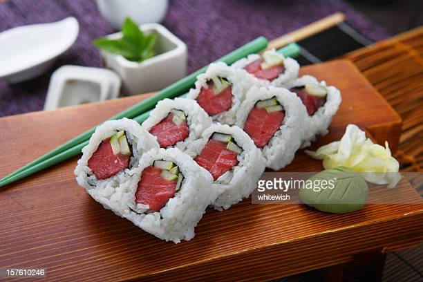 tuna roll - maki sushi stock pictures, royalty-free photos & images