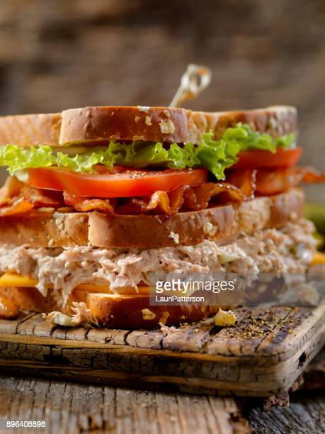 tuna salad, blt, clubhouse sandwich - club sandwich stock pictures, royalty-free photos & images