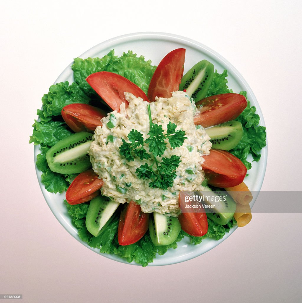 Tuna salad with fruit and vegetables : Stock Photo