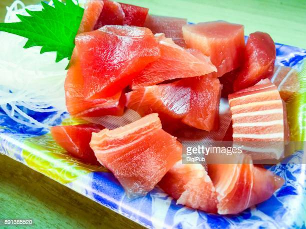 tuna sashimi, fish imported from taiwan - shiso stock pictures, royalty-free photos & images