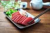 Tuna sashimi, raw fish in traditional Japanese style