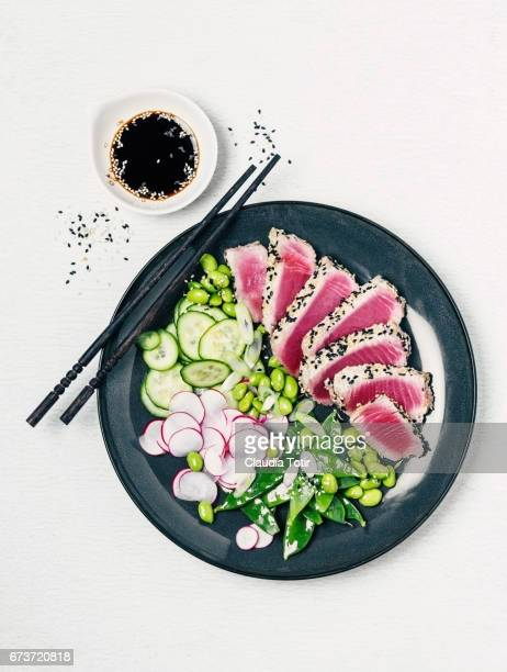 tuna steak with salad - soy sauce stock photos and pictures