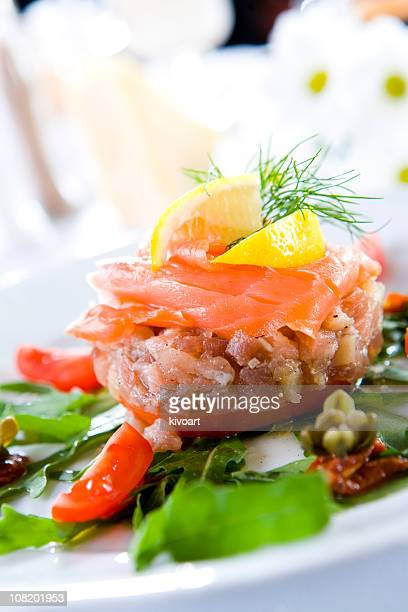 tuna steak with smoked salmon