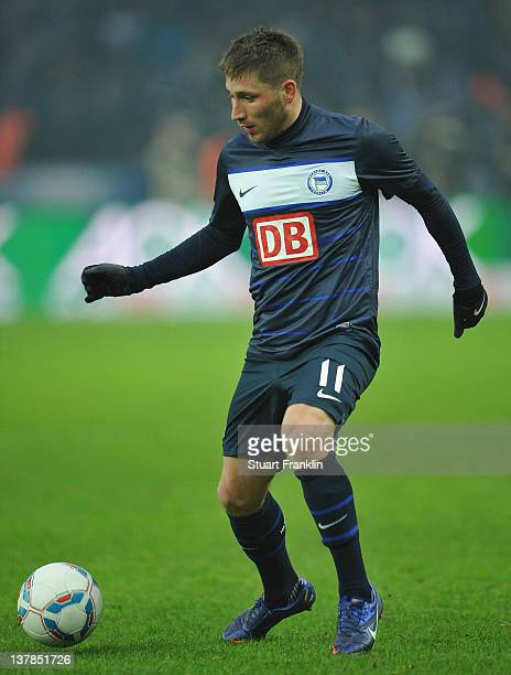 Tunay Torun of Berlin in action during the Bundesliga match between Hertha BSC Berlin and Hamburger SV at Olympic Stadium on January 28 2012 in...