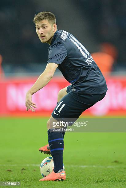 Tunay Torun of Berlin in action during the Bundesliga match between Hertha BSC Berlin and SC Freiburg at Olympic Stadium on April 10 2012 in Berlin...
