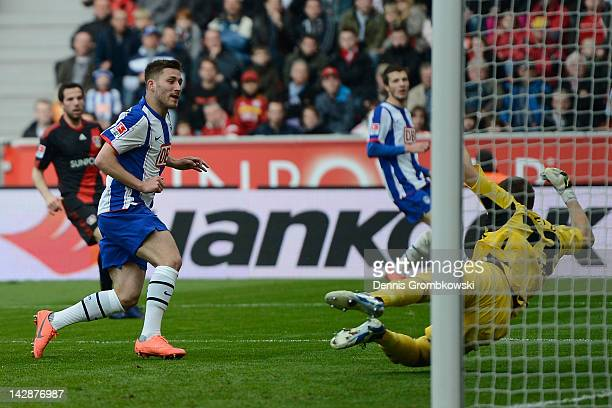 Tunay Torun of Berlin scores his team's second goal during the Bundesliga match between Bayer 04 Leverkusen and Hertha BSC Berlin at BayArena on...