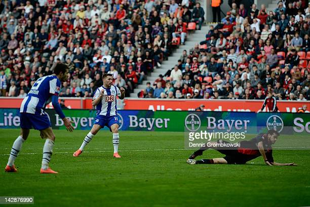 Tunay Torun of Berlin scores his team's third goal during the Bundesliga match between Bayer 04 Leverkusen and Hertha BSC Berlin at BayArena on April...