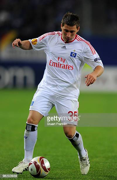 Tunay Torun of Hamburg in action during the UEFA Europa League quarter final first leg match between Hamburger SV and Standard Liege at HSH Nordbank...