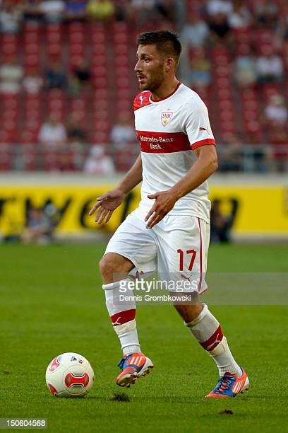 Tunay Torun of Stuttgart controls the ball during the UEFA Europa League Qualifying PlayOff match between VfB Stuttgart and FC Dynamo Moscow at...