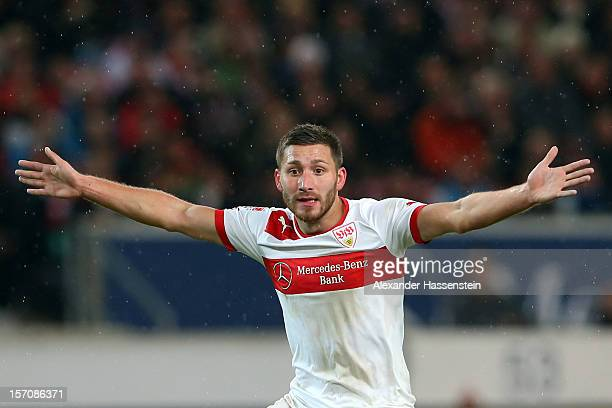 Tunay Torun of Stuttgart reacts during the Bundesliga match between VfB Stuttgart and FC Augsburg at MercedesBenz Arena on November 28 2012 in...