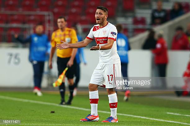Tunay Torun of Stuttgart reacts during the UEFA Europa League group E match between VfB Stuttgart and FC Steaua Bucuresti at MercedesBenzArena on...