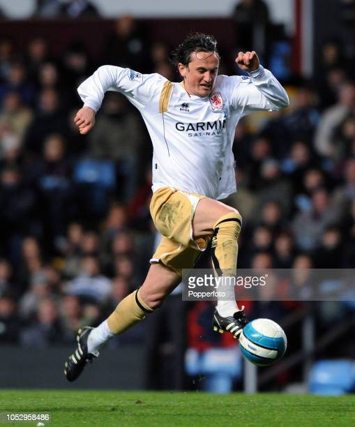 Tuncay of Middlesbrough in action during the Barclays Premier League match between Aston Villa and Middlesbrough at Villa Park on March 12 2008 in...