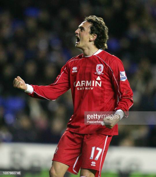 Tuncay Sanli of Middlesbrough celebrates after scoring a goal during the Barclays Premier League match between Reading and Middlesbrough at The...