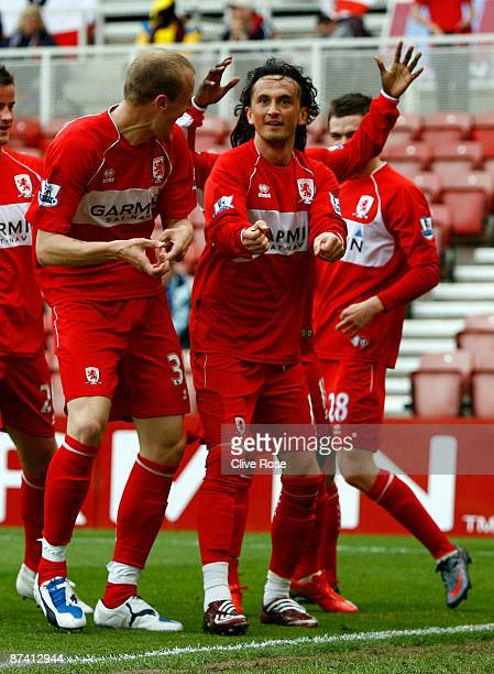 Tuncay Sanli of Middlesbrough celebrates his goal during the Barclays Premier League match between Middlesbrough and Aston Villa at the Riverside...