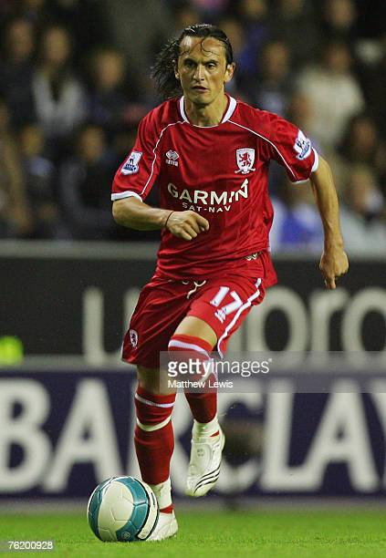 Tuncay Sanli of Middlesbrough in action during the Barclays Premiership match between Wigan Athletic and Middlesbrough at the JJB Stadium on August...