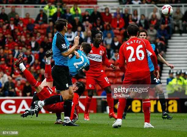 Tuncay Sanli of Middlesbrough scores with an overhead kick during the Barclays Premier League match between Middlesbrough and Aston Villa at the...