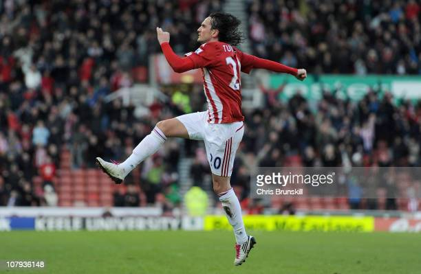 Tuncay Sanli of Stoke City celebrates after scoring the 11 equaliser during the FA Cup Sponsored by EON 3rd Round match between Stoke City and...