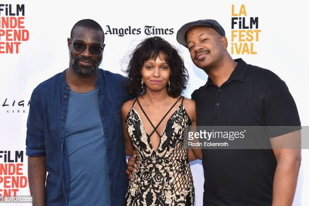 Tunde Adebimpe China Shavers and Marshall Tyler attend Shorts Program 1 during the 2017 Los Angeles Film Festival at Arclight Cinemas Culver City on...