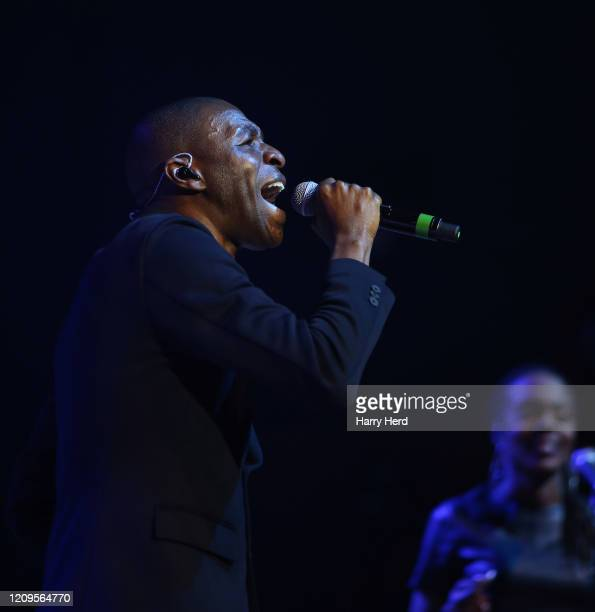 Tunde Baiyewu of Lighthouse Family performs at Portsmouth Guildhall on February 29, 2020 in Portsmouth, England.