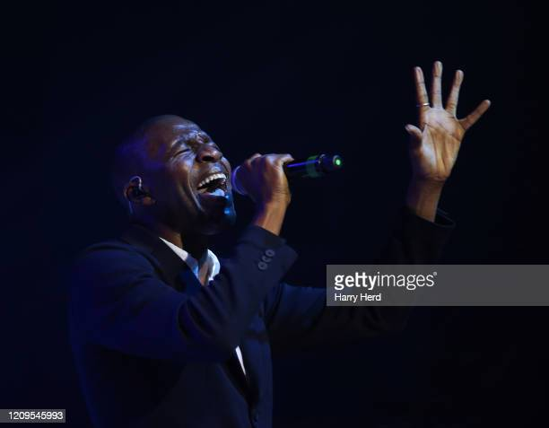 Tunde Baiyewu of the Lighthouse Family performs at Portsmouth Guildhall on February 29, 2020 in Portsmouth, England.