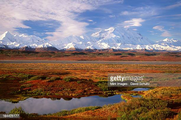Tundra and kettle pond in Denali National Park, Alaska in the fall. Mount McKinley in the background.