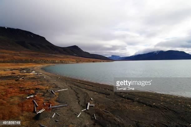 CONTENT] Tundra landscape around Russian coal mining town Barentsburg Spitsbergen Svalbard