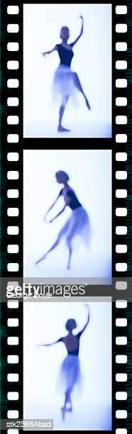 tungsten film strip of a female ballet dancer performing