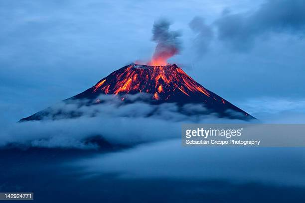 tungurahua eruption at dusk - lava stock pictures, royalty-free photos & images