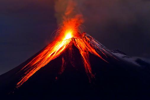 Tungurahua Volcano eruption long exposure with lava 177363117