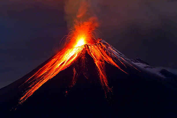Tungurahua Volcano eruption long exposure with lava