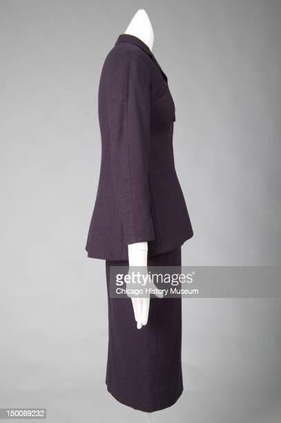 Tunic suit, Pagoda, 1955 . Wool, silk taffeta by Charles James; worn by Mrs Albert H Newman, nee Muriel Kallis. Known as the 'Pagoda,' James ranked...