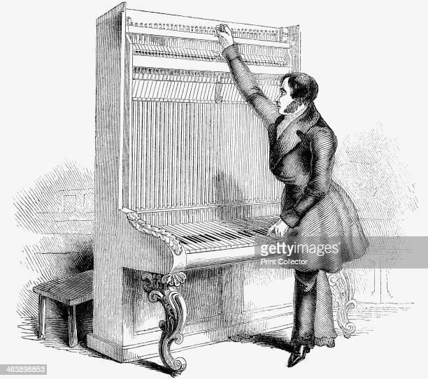 Tuning a Broadwood Cabinet piano London 1842 Wood engraving