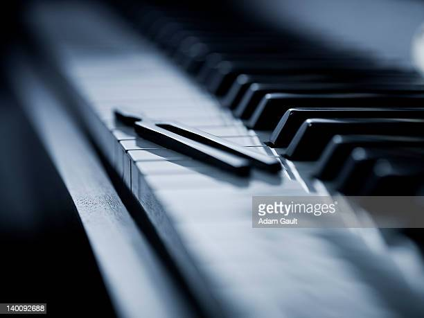 Tuning fork on piano keys.