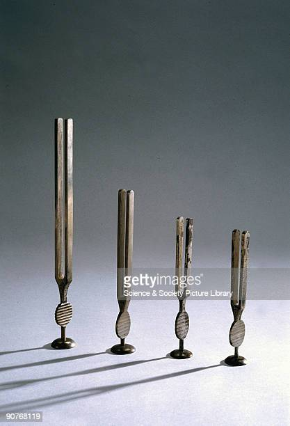 Tuning forks of this type are used in audiology to assess the extent of any hearing loss These examples are described left to right c 18511895 made...