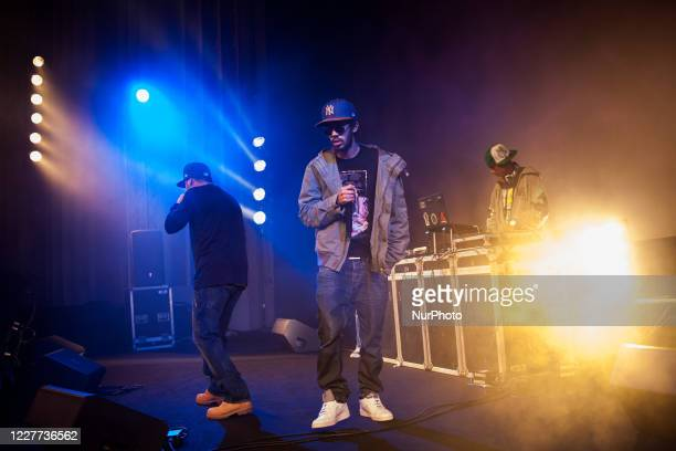 Tunis, Tunisia, 14 December 2013. Two young rappers on stage during a concert in the city centre at the cinema le colisee.