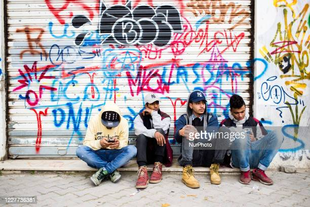 Tunis, Tunisia, 28 January 2017. A group of young people waits for the opening of the festival.