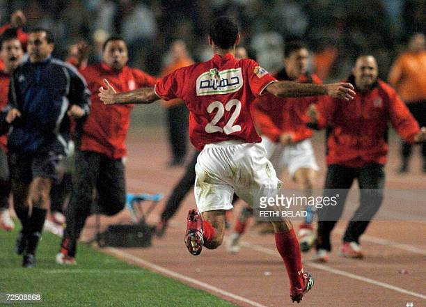 Egyptian AlAhly Mohamed Abou Tarika celebrates after winning the second leg of the African Champions League final match against Tunisian Sportif...