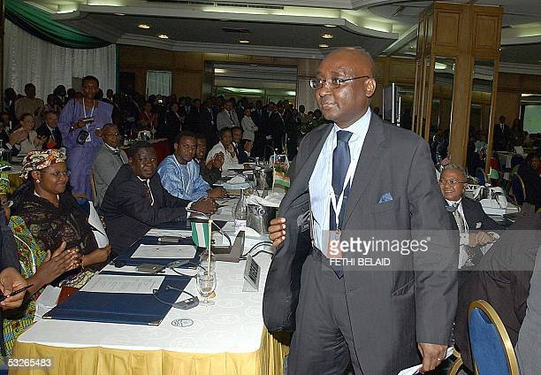 Rwandan Finance Minister Donald Kaberuka is applauded after he was elected 21 July 2005 the new president of the African Development Bank beating...